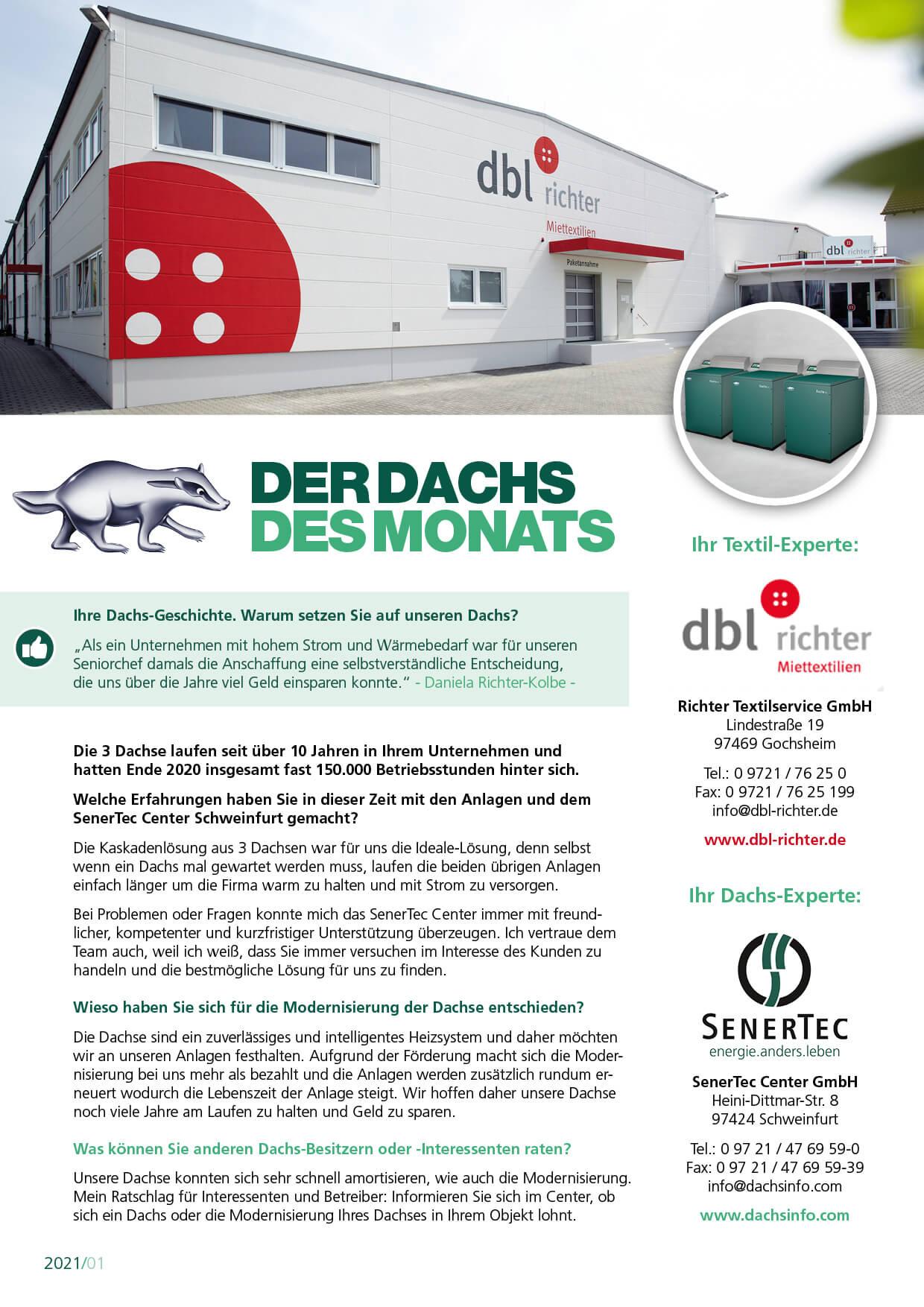 DBL-Richter Dachs des Monats SenerTec Center Schweinfurt
