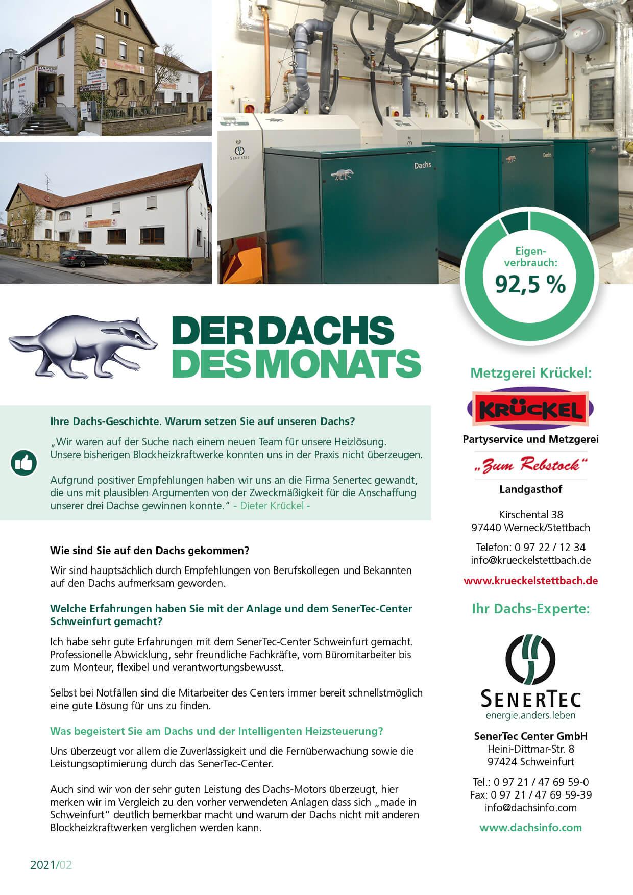 Die Metzgerei Krückel ist der Dachs des Monats Februar des SenerTec Centers Schweinfurt